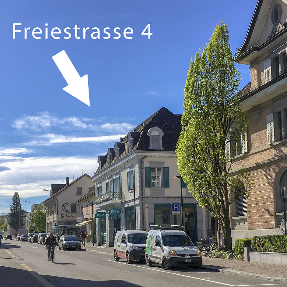 Foto der Freiestrasse mit Blick auf das Haus an der Freiestrasse 4